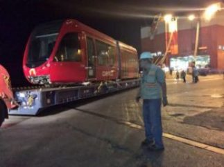 The first cars of Cuenca's tram system at the docks in Guayaquil on Tuesday night.