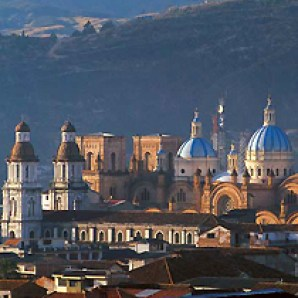 Cuenca's new cathedral at daybreak.