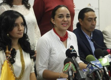 """National Assembly President Gabriela Rivadeneira announcing a three-month extension of the """"national dialogue"""" on Wednesday."""