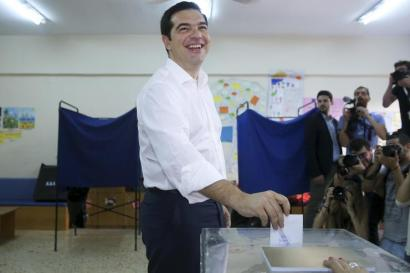 """Greek Prime Minister Alexis Tsipras casting a """"no"""" vote on Sunday."""