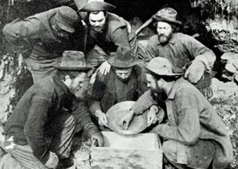 Panning for gold.