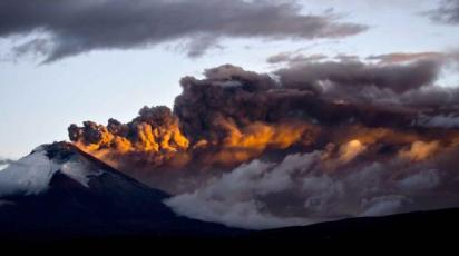 Cotopaxi on Monday afternoon. Photo credit: Martin Bernetti, AFP
