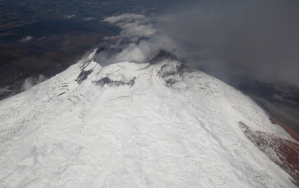 An aerial view of Cotopaxi taken on Tuesday.