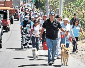 Residents of Rum in an evacuation drill Saturday.