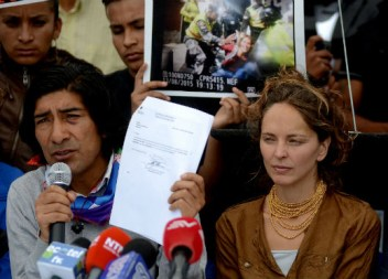 Manuela Picq with her partner Carlos Perez at a press coference earlier this week.