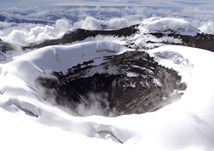An aerial view of the Cotopaxi crater.