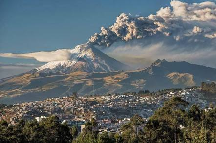 The Cotopaxi volcano as seen last week from Quito. It's still smokin'.