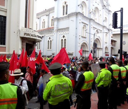 A July anti-government protest march in Cuenca.