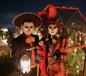 In Mexico, the Day of the Dead, is symbolized by festive skeletons.