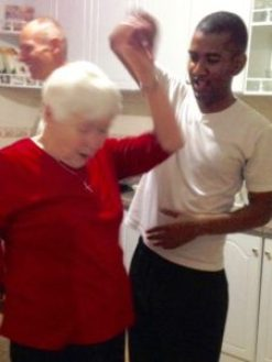 85-Year-Old Miss Peachy learns to salsa.