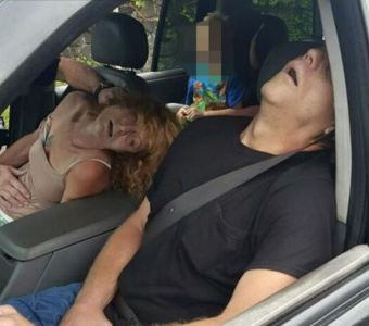 Heroin overdosed couple at intersection in Liverpool, Ohio.