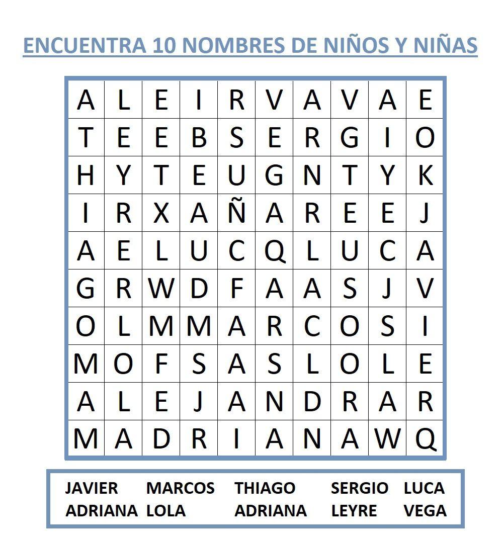 SOPA DE LETRAS NIÑOS