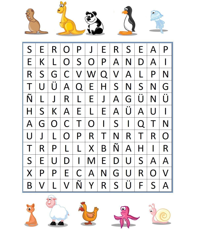 SOPA DE LETRAS DE ANIMALES DIFICIL 3