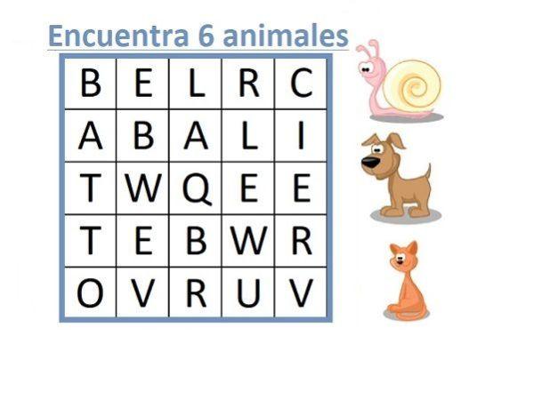 SOPA DE LETRAS DE ANIMALES FACILES