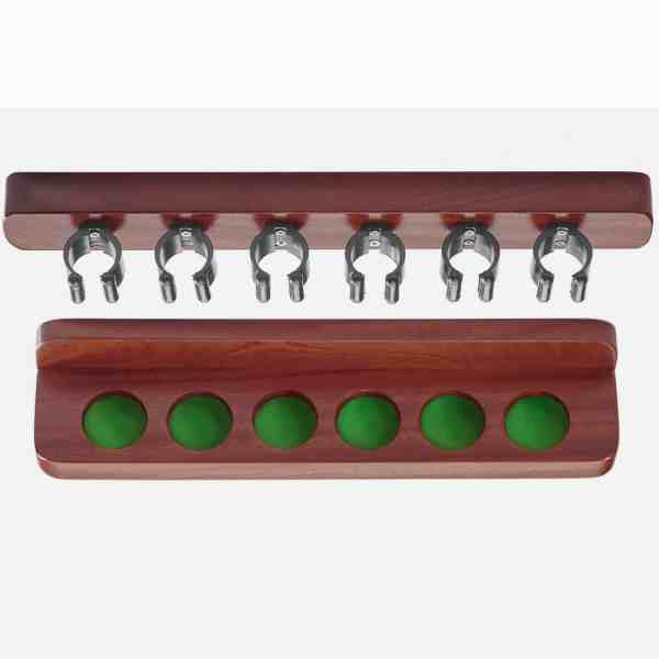Peradon UK Made Mahogany Coloured Cue Rack with Nylon Cue Clips