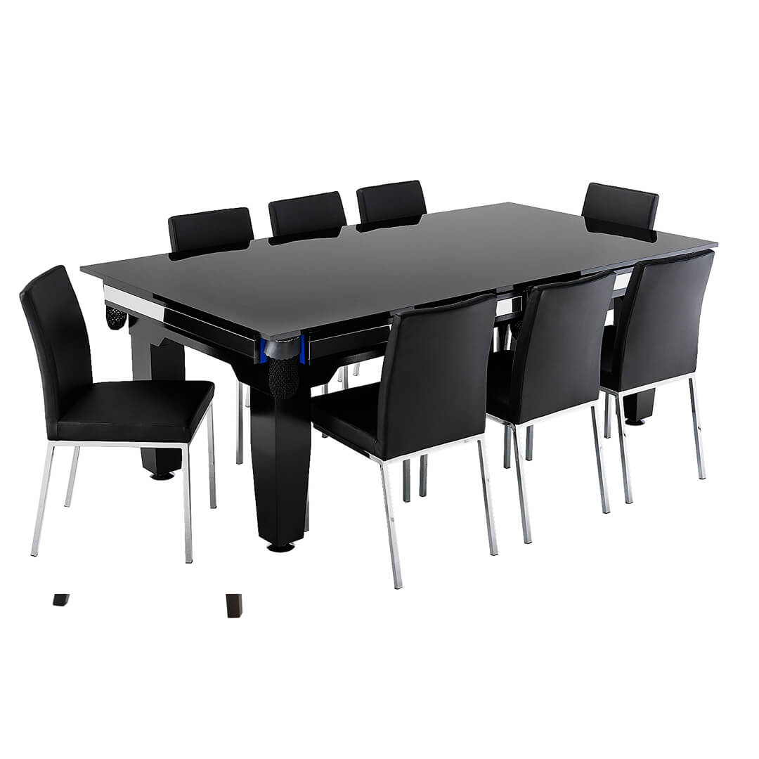 Dining Table With Stainless Slides Cue Power Billiards