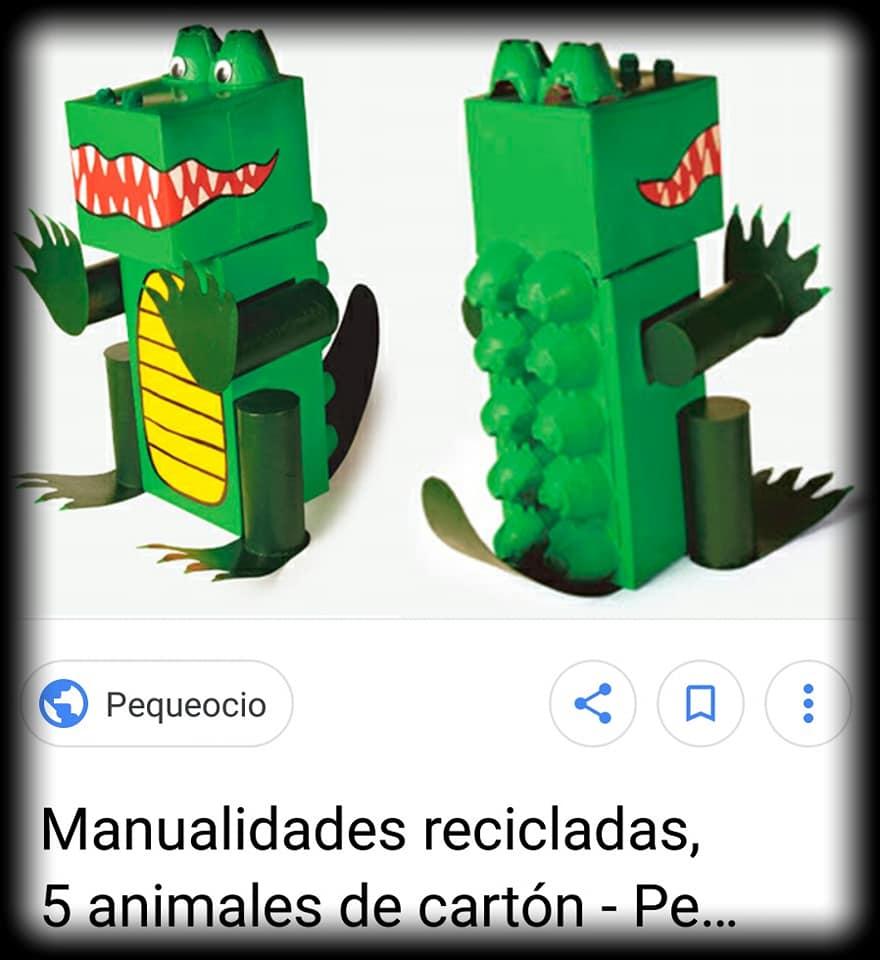 cocodrilo desde el que nació nuestro dinosaurio con cajas de zapatos