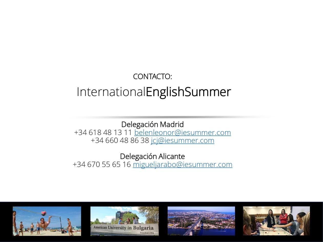 Datos de contacto del International English Summer