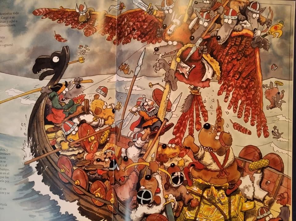 Momento de una de las batallas del libro de Mauri Kunnas