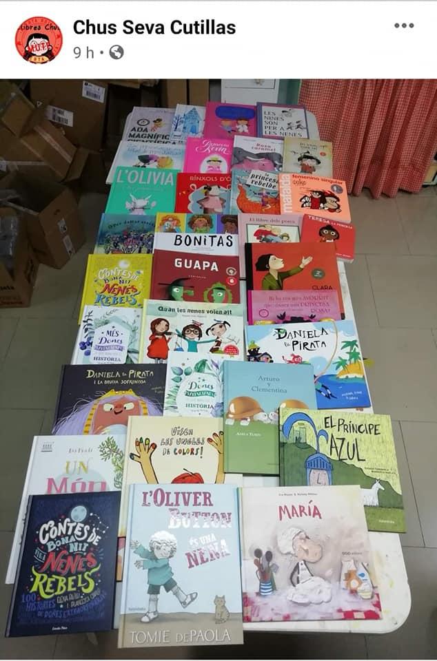 Selección de cuentos para el 8M que ha hecho Llibres Chus y que publicó en su Facebook