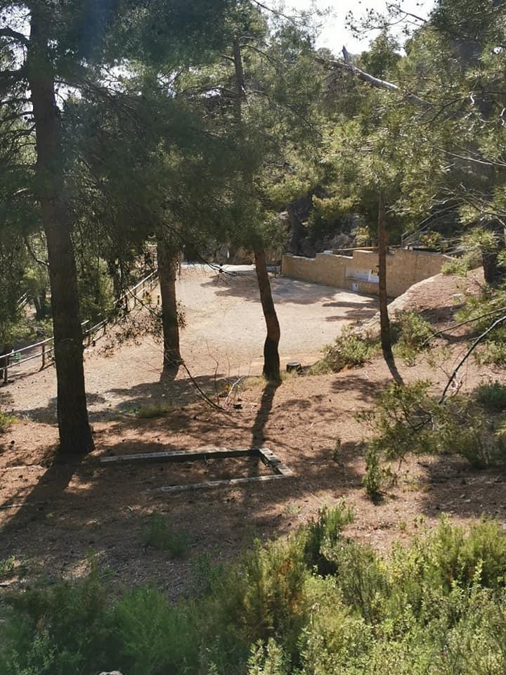Las fuentes vistas desde un plano más alto del área recreativa
