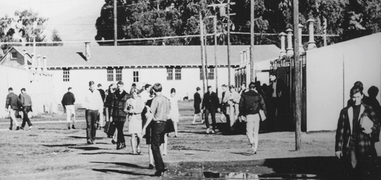 Students attending Cuesta College, utilizing in the old barracks of Camp San Luis Obispo in the 1960's.