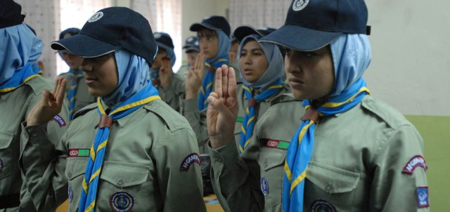 KABUL, Afghanistan (Feb. 3, 2011) -- A group of Afghan Girl Scouts recite the scout motto during their meeting. These girls are part of the Marastoon Boy and Girl Scout Troop in Kabul. The troop currently has more than 200 scouts and hopes to have 400 in 2011, said Tamim Hamkar, a scout trainer for the Marastoon troop.