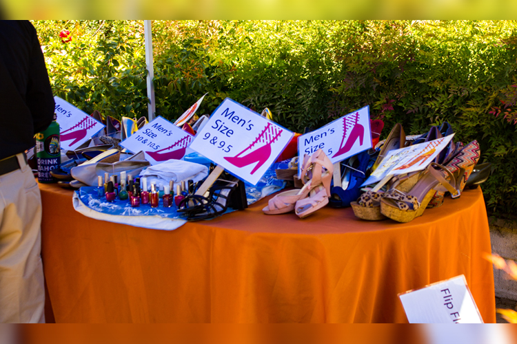 A pile of all the different sizes of high heels to choose from.