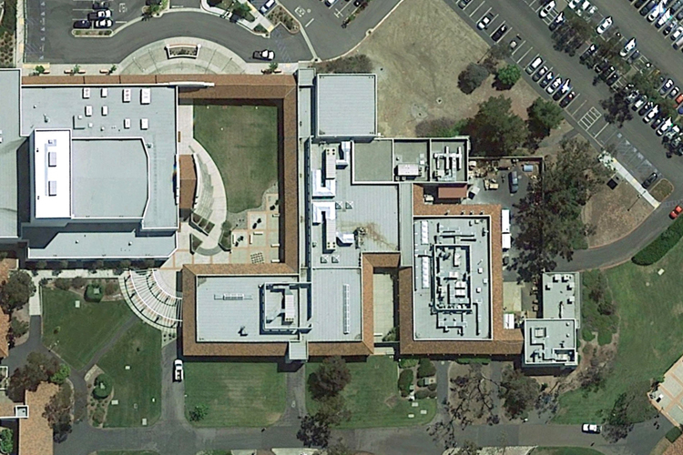 An aerial view of the Cuesta art and music department roofs which experiences leaks every rainy season, causing problems.