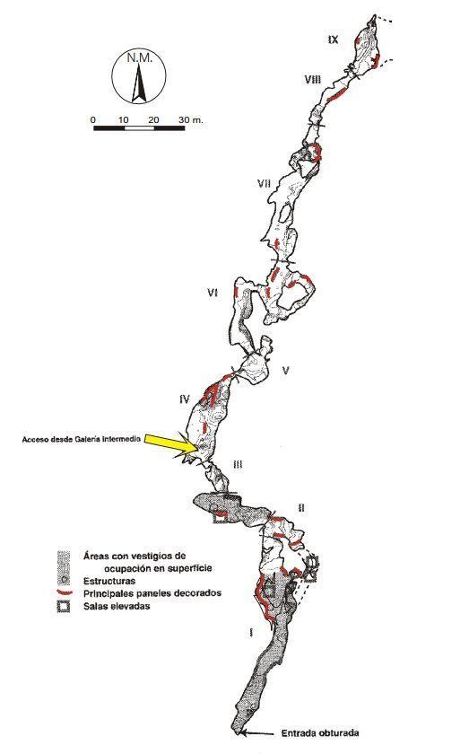 Mapa de la Cueva de la Garma