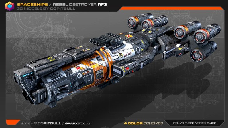 Spaceship Rebel Destroyer Stephane Chasseloup