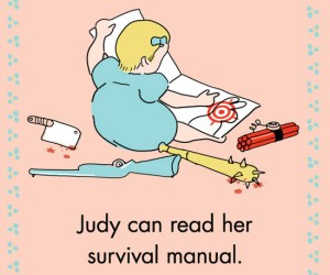 judy reading her survival manual pat the zombie
