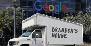 Brandon lives in this truck in the Google parking lot Photo: Brandon S