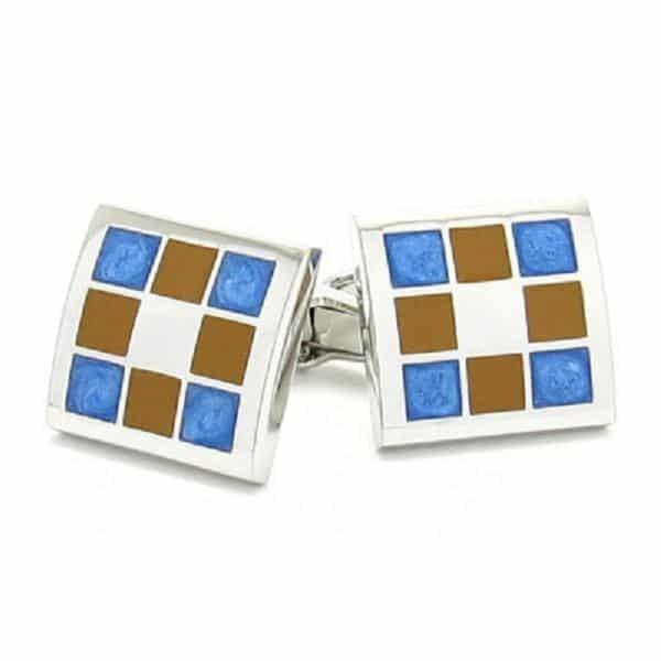 Brown & Blue Squares Cufflinks