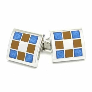 Brown & Blue Squares Cufflinks