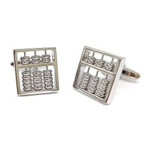 Silver coloured abacus cufflinks