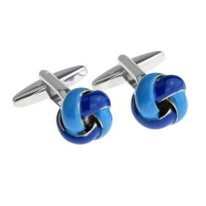 two tone blue knot cufflinks