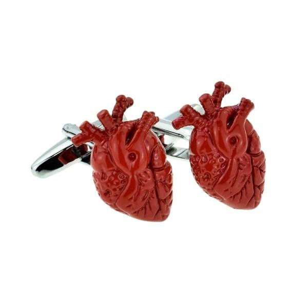 Red heart shaped cufflinks
