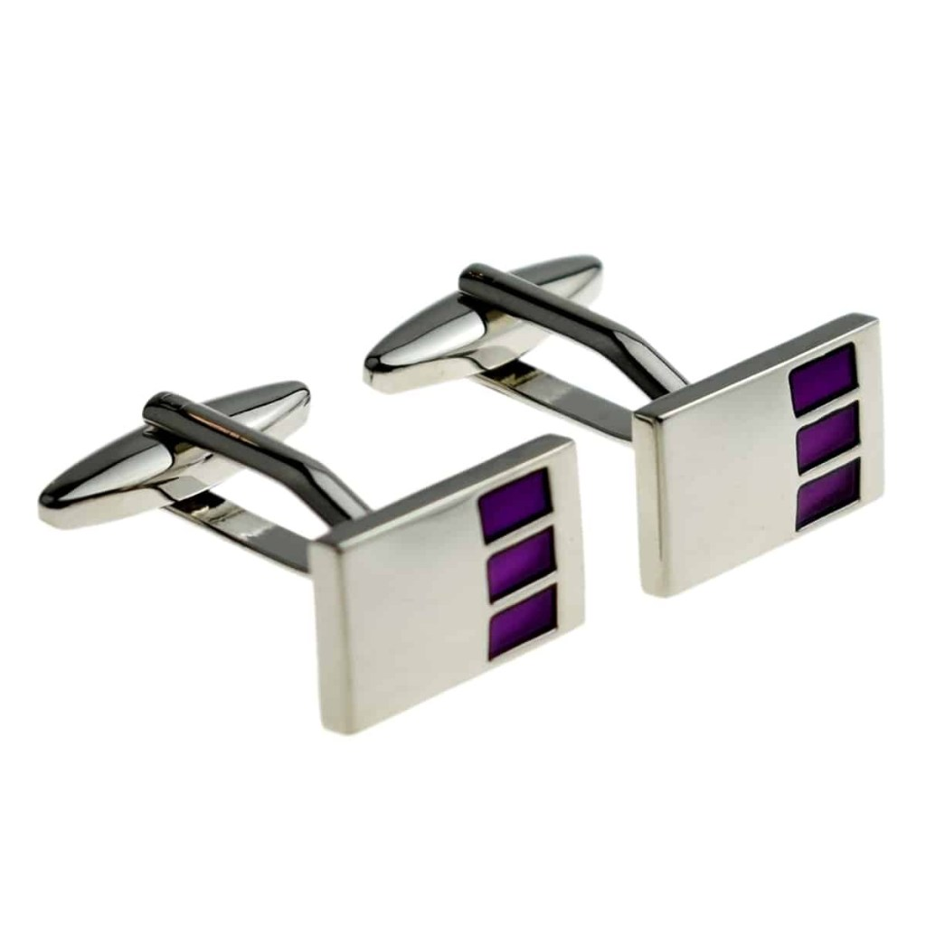 Rectangular cufflinks with purple highlights