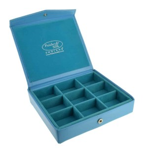 Faux Blue Leather Effect Cufflink Case