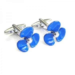 Blue propeller shaped cufflinks