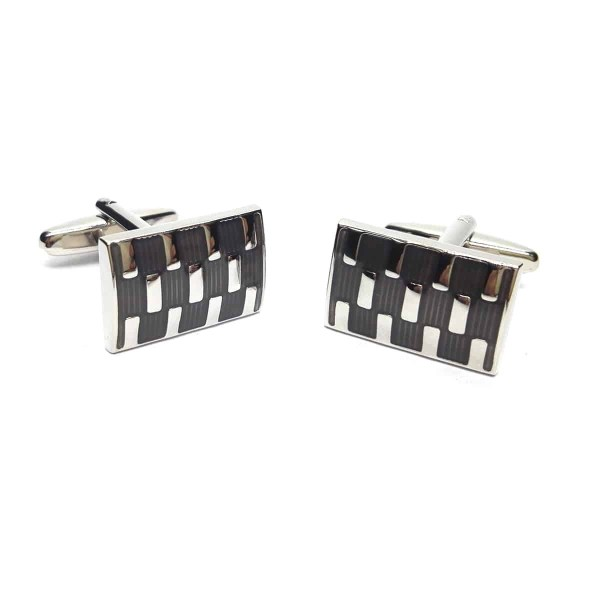 Black and silver rectangular cufflinks