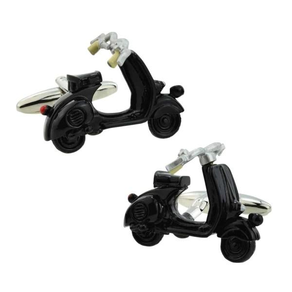 Black scooter shaped cufflinks