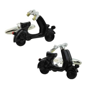 Black scooter shaped cufflinks