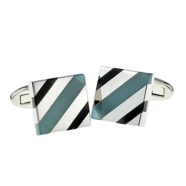 Blue and teal acrylic cufflinks