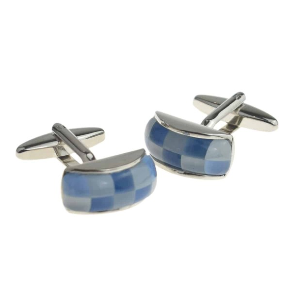 Blue Curved Multi Section Cufflinks
