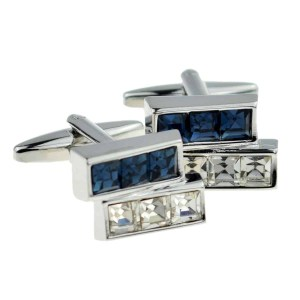 Blue and white crystal bar cufflinks