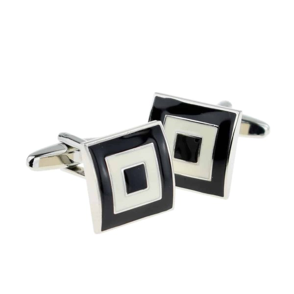 Black and white squares cufflinks