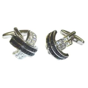 Cross shaped black and crystal cufflinks