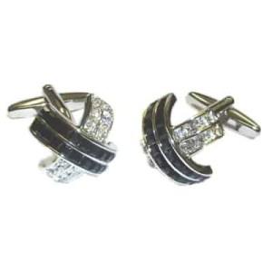 Cross shaped black and crystal cufflinks